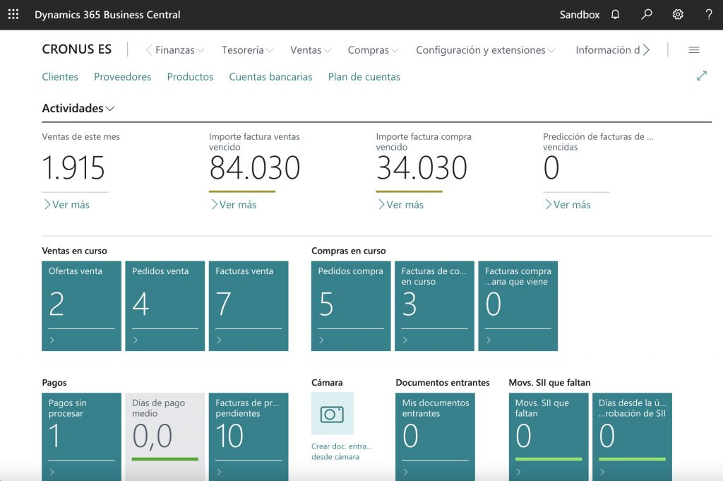 Microsoft Dynamics 365 Business Central home